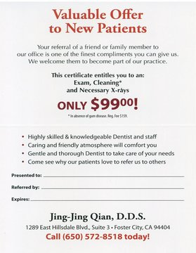 Foster City Dentist | Dentist in Foster City |  Dr. Jing Jing Qian | Jing Jing Qian Dental Office | CA
