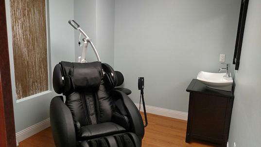 Massage chair in zen room