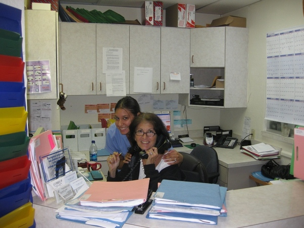 Mindy- our terrific office manager with Liz, one of our assistants