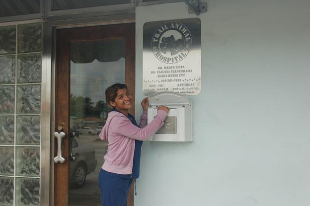 Wendy at the mailbox
