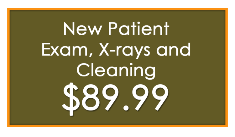 New patient exam x-rays and cleaning 89.99