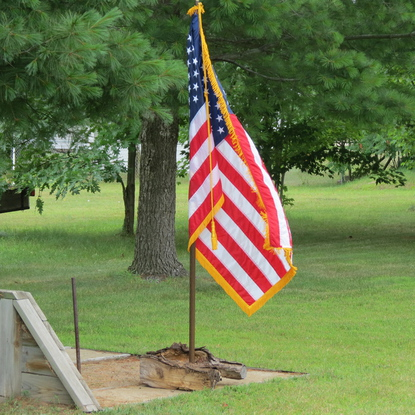 "The United States Flag Code states: ""The flag, when it is in such condition that it is no longer a fitting emblem of display, should be destroyed in a dignified way, preferably by burning."""