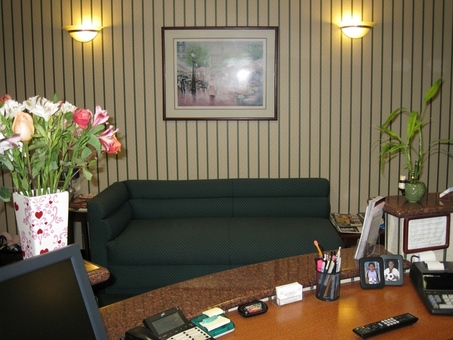 Comfortable sofas in reception area