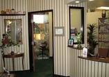 Reception area, facing privacy door