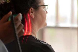 Woman receiving laser treatment in Billings, MT